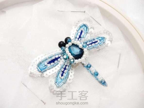 夏日清凉·法绣蓝蜻蜓
