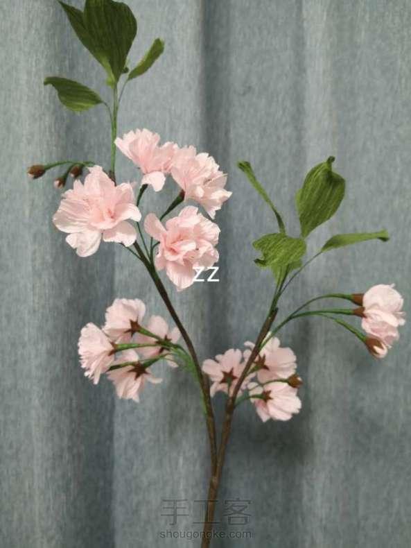 皱纹纸樱花的制作方法