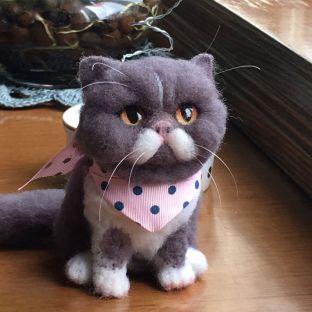 灰色植毛猫咪摆件教程