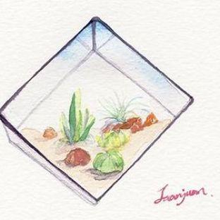多肉植物装饰水彩画教程