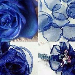 蓝色妖姬水晶发夹
