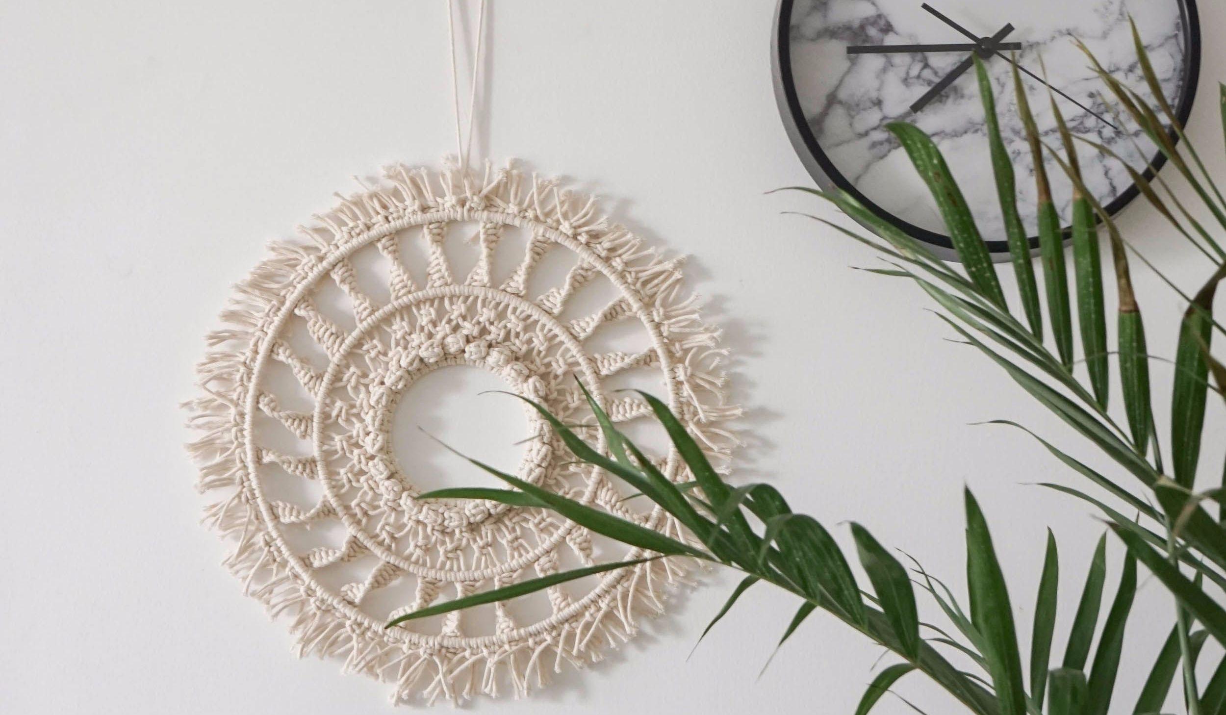 【向阳】圆形macrame挂饰成品编织教程