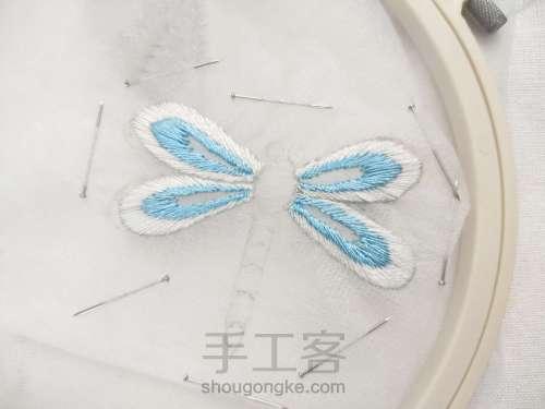夏日清凉·法绣蓝蜻蜓 第2步