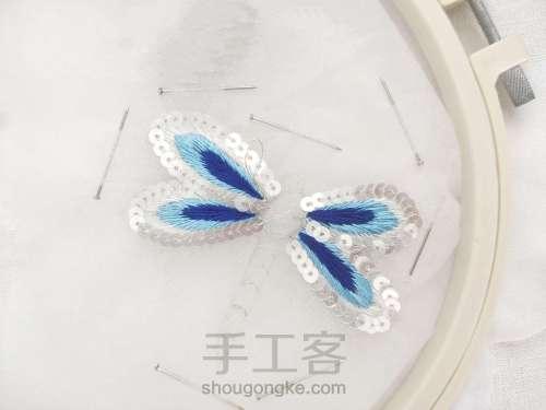 夏日清凉·法绣蓝蜻蜓 第4步