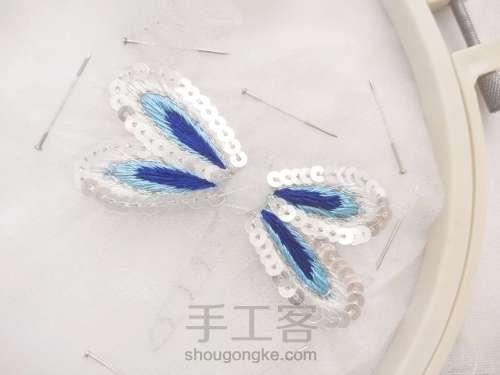 夏日清凉·法绣蓝蜻蜓 第5步