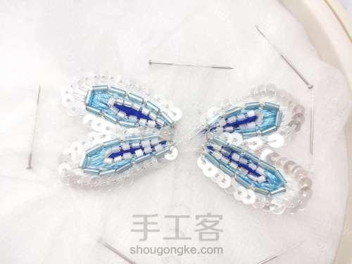 夏日清凉·法绣蓝蜻蜓 第7步