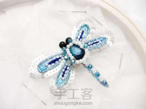 夏日清凉·法绣蓝蜻蜓 第9步